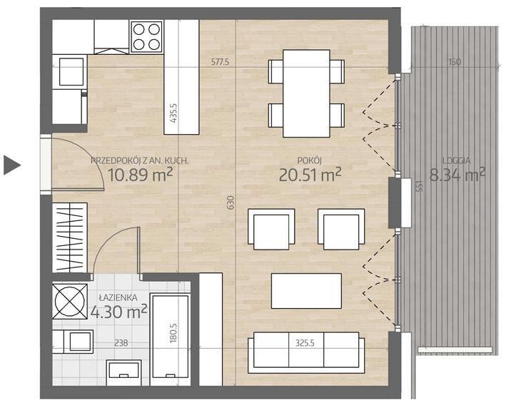 wizualizacja mieszkania numer 6