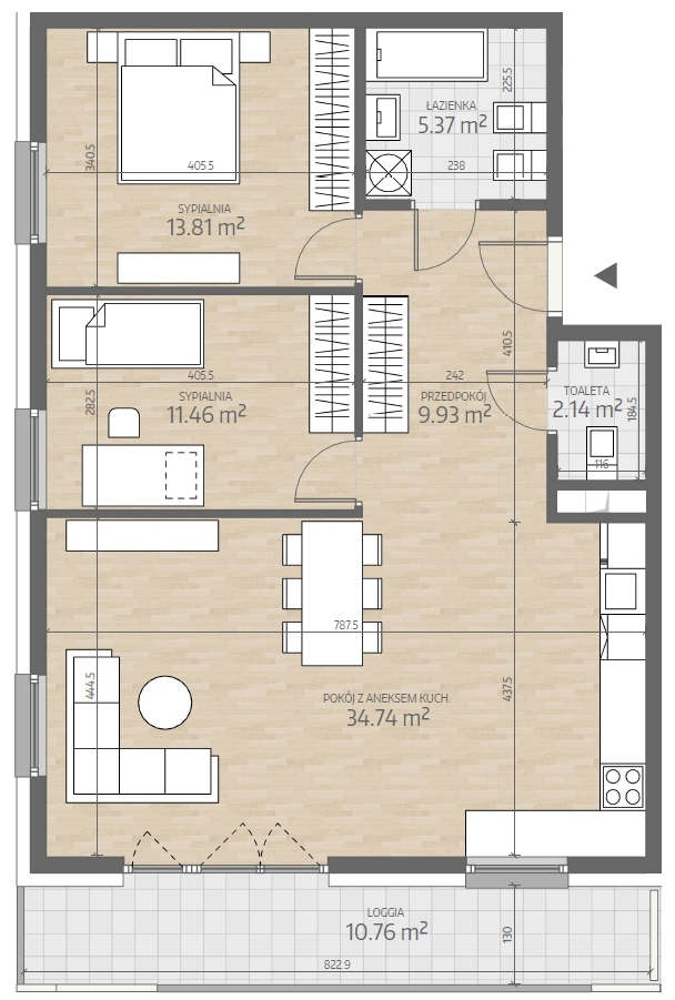 wizualizacja mieszkania numer 9