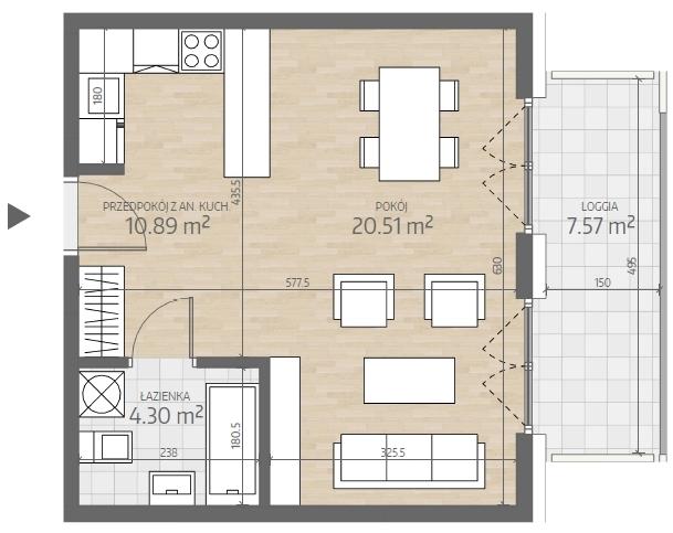 wizualizacja mieszkania numer 17
