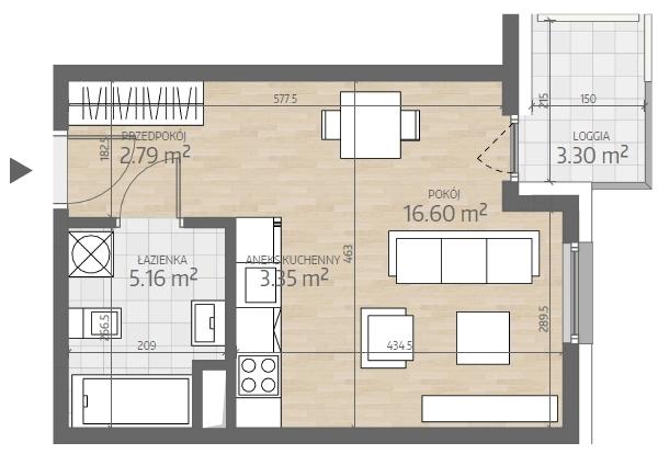 wizualizacja mieszkania numer 18