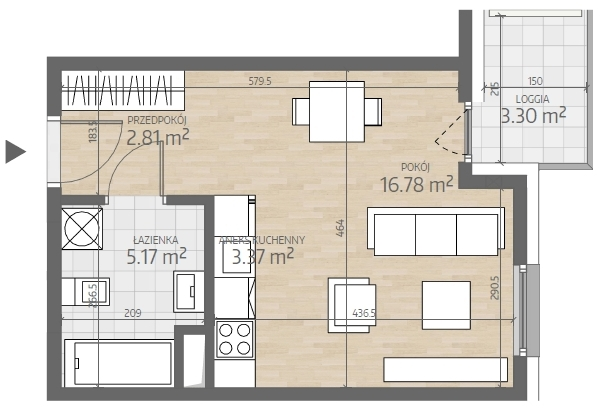 wizualizacja mieszkania numer 26