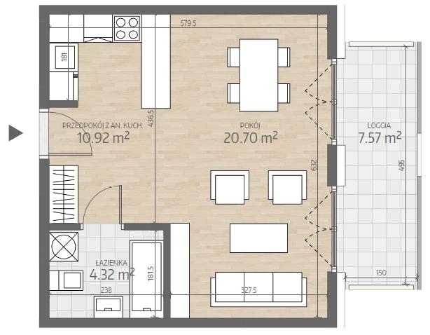 wizualizacja mieszkania numer 28