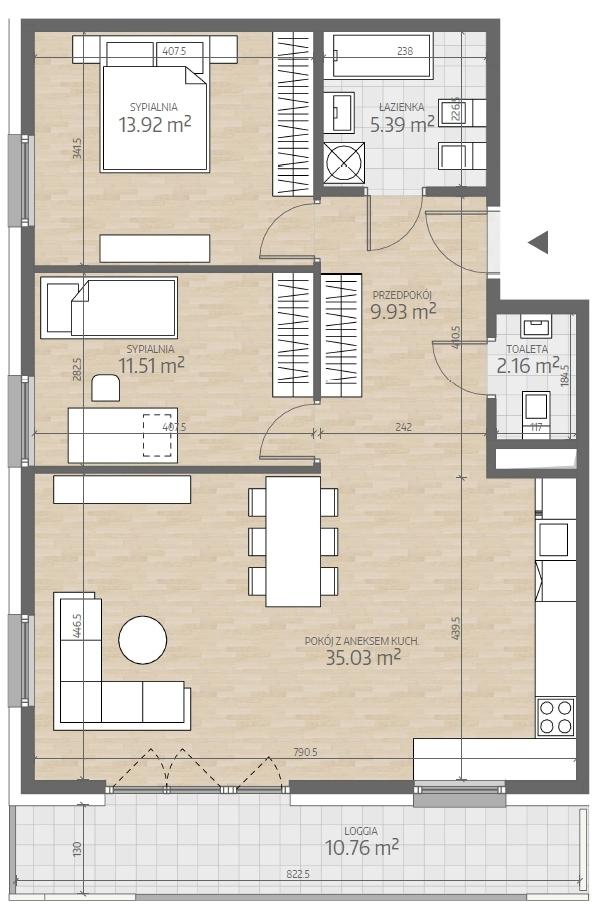wizualizacja mieszkania numer 69