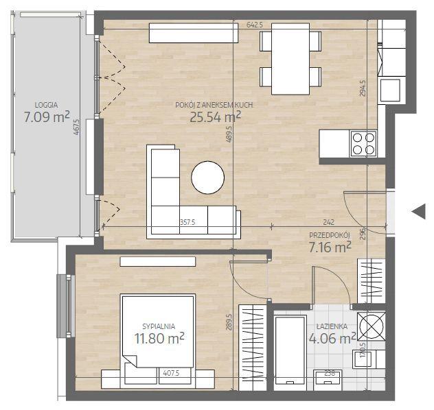 wizualizacja mieszkania numer 71