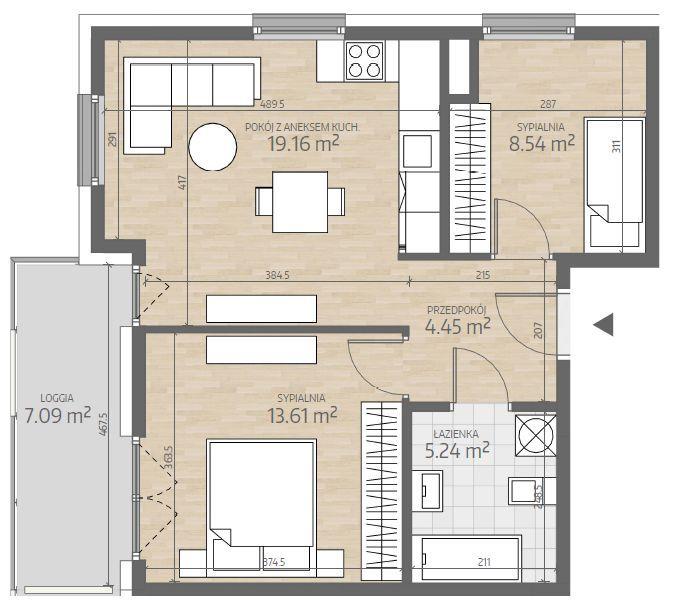 wizualizacja mieszkania numer 72