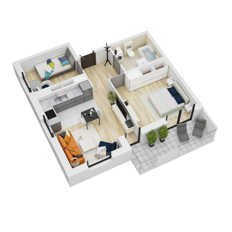 wizualizacja mieszkania numer 91