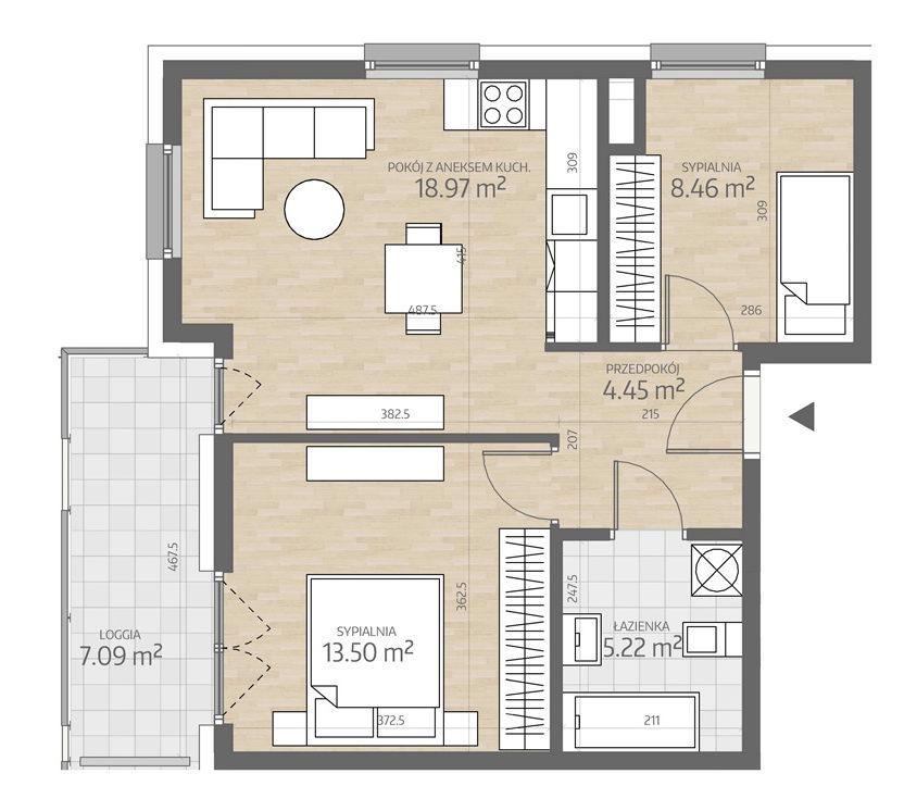 rzut mieszkania numer 2