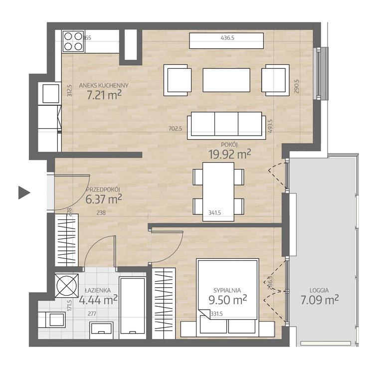 rzut mieszkania numer 75