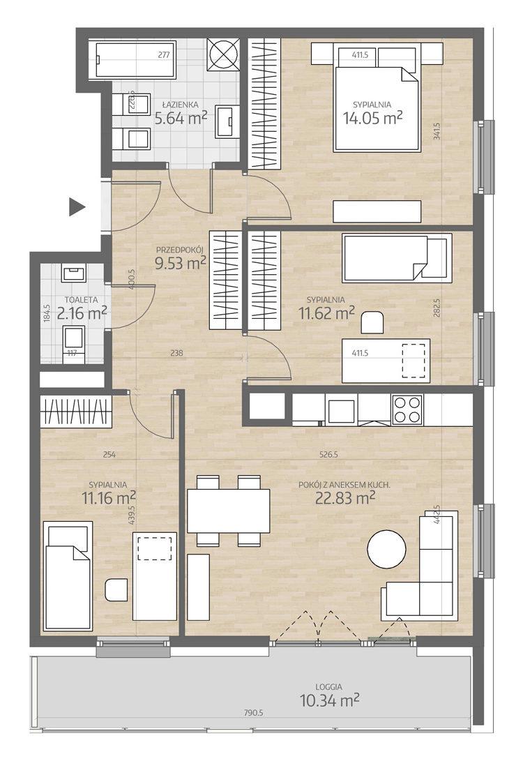 rzut mieszkania numer 86