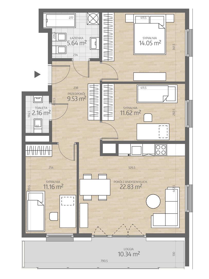 rzut mieszkania numer 95