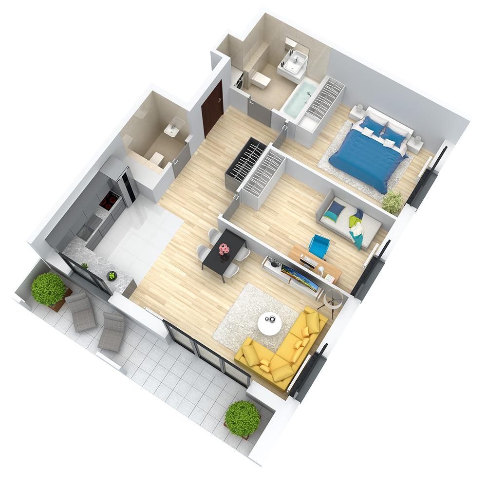 wizualizacja mieszkania numer 3