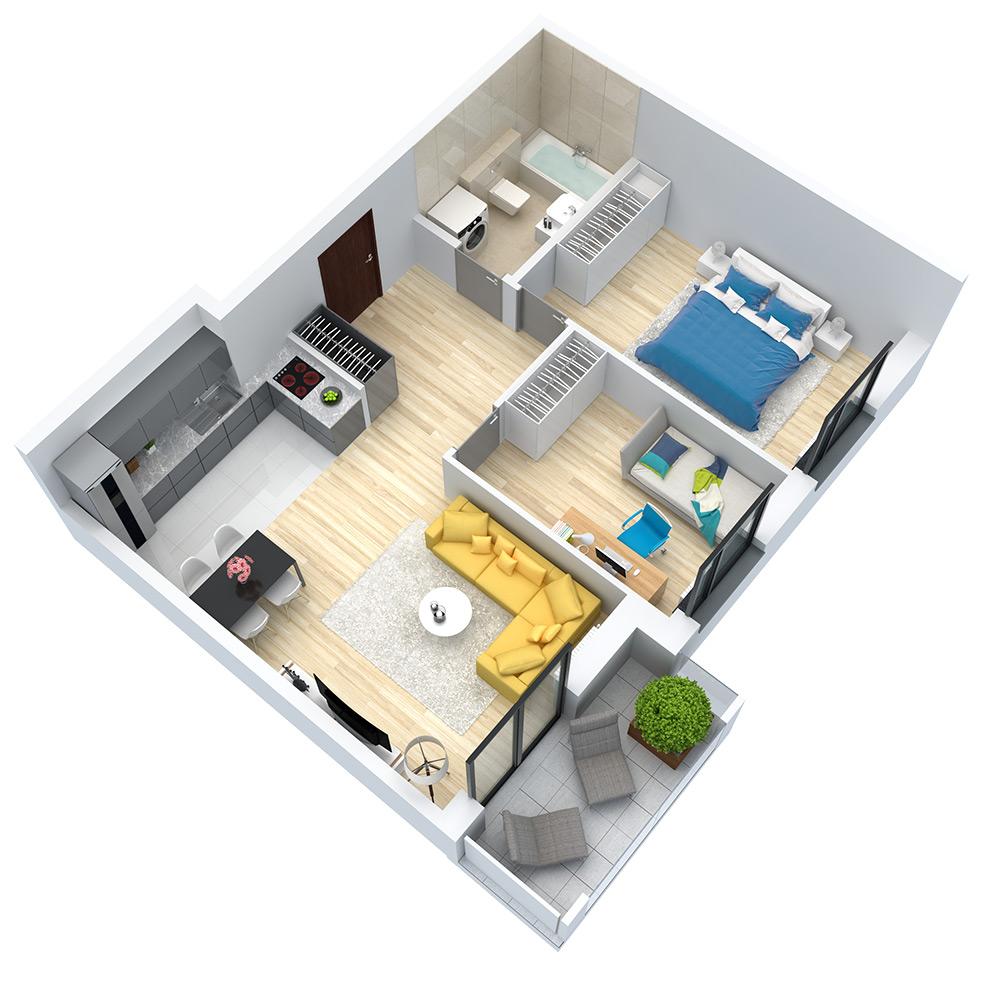 wizualizacja mieszkania numer 14