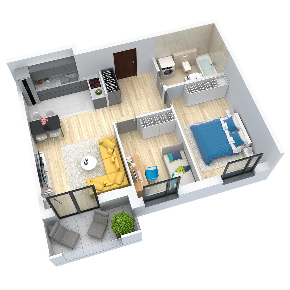 wizualizacja mieszkania numer 23