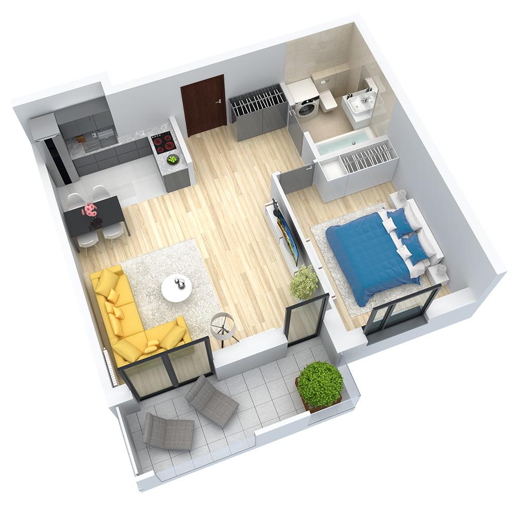 wizualizacja mieszkania numer 34