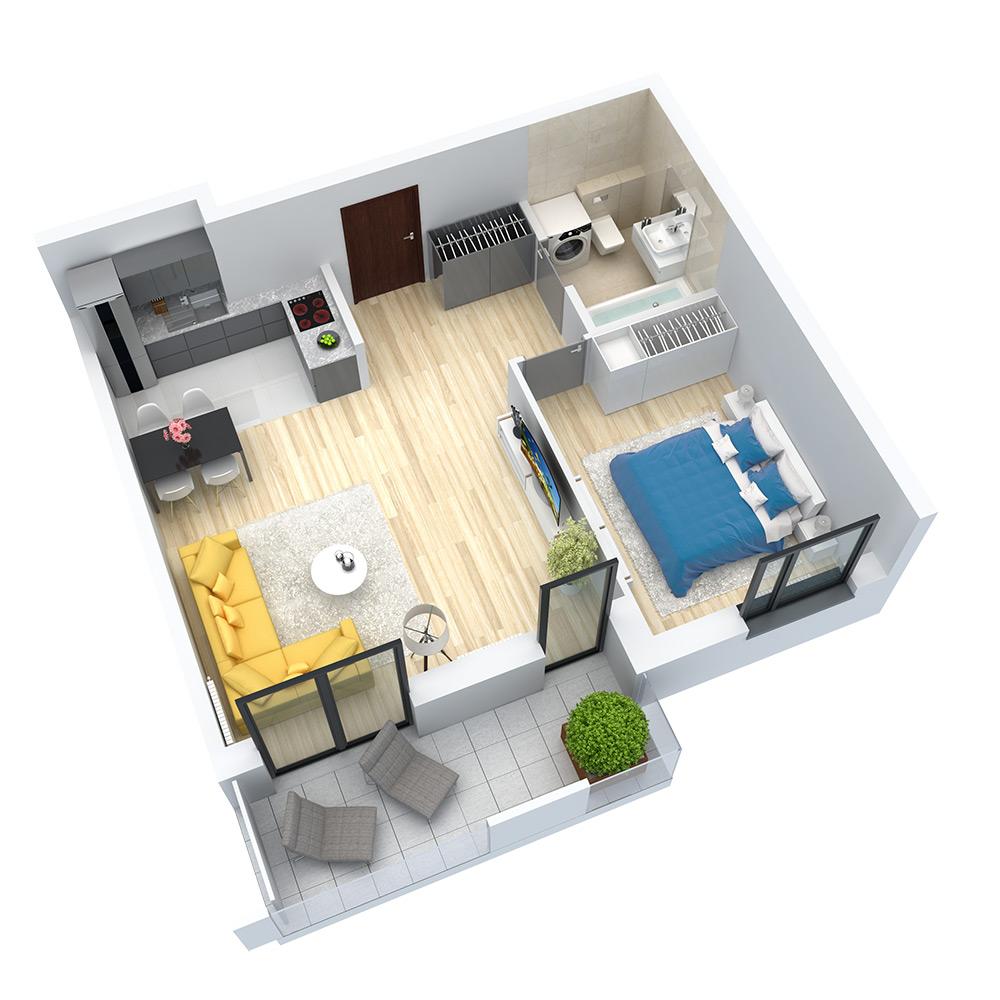 wizualizacja mieszkania numer 37