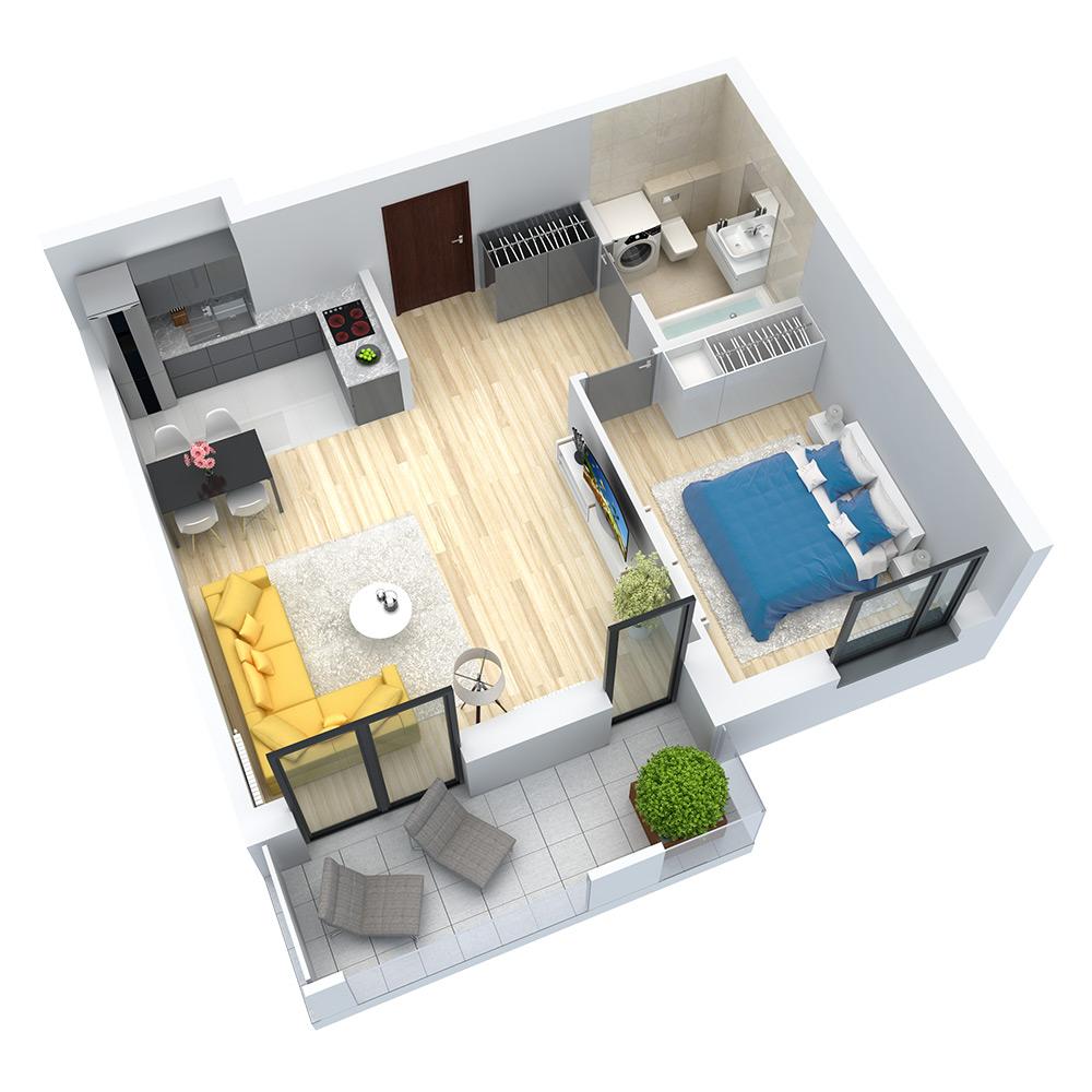 wizualizacja mieszkania numer 43