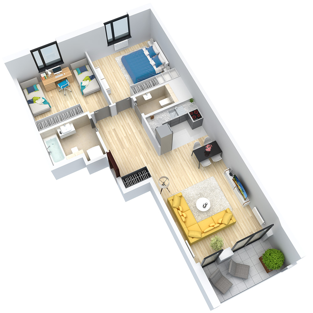 wizualizacja mieszkania numer 45