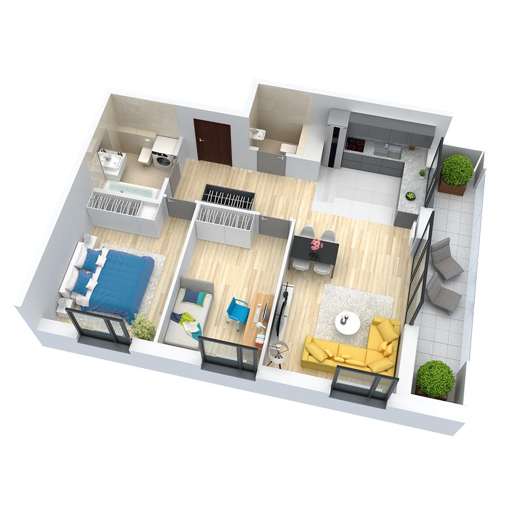 wizualizacja mieszkania numer 58