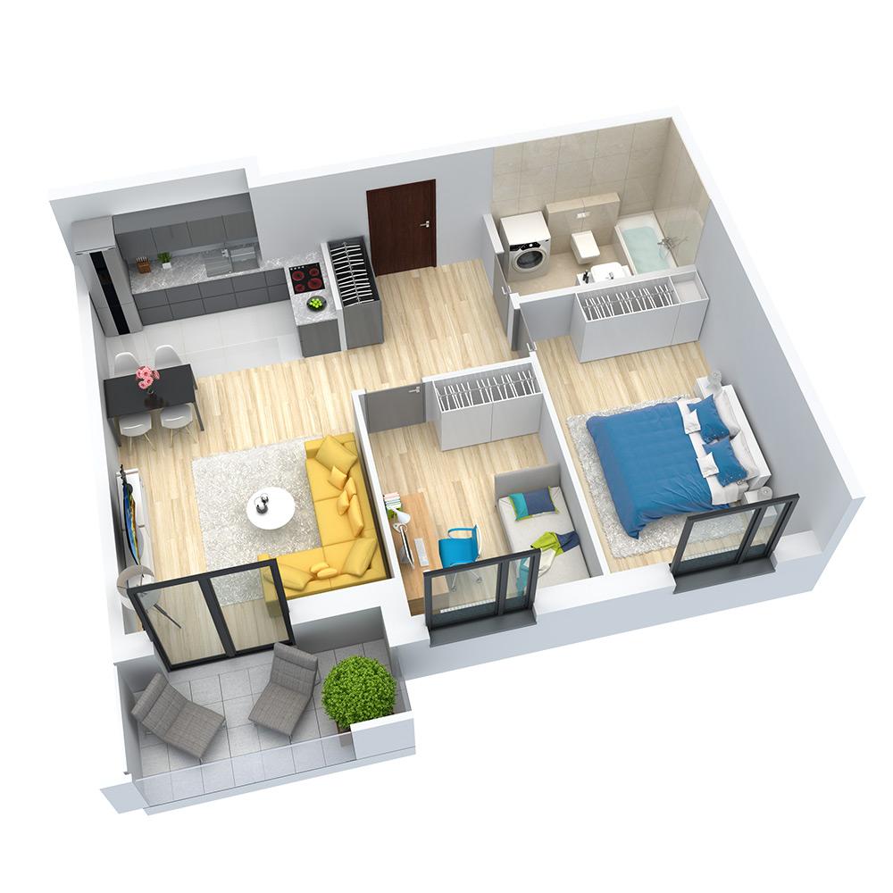 wizualizacja mieszkania numer 59