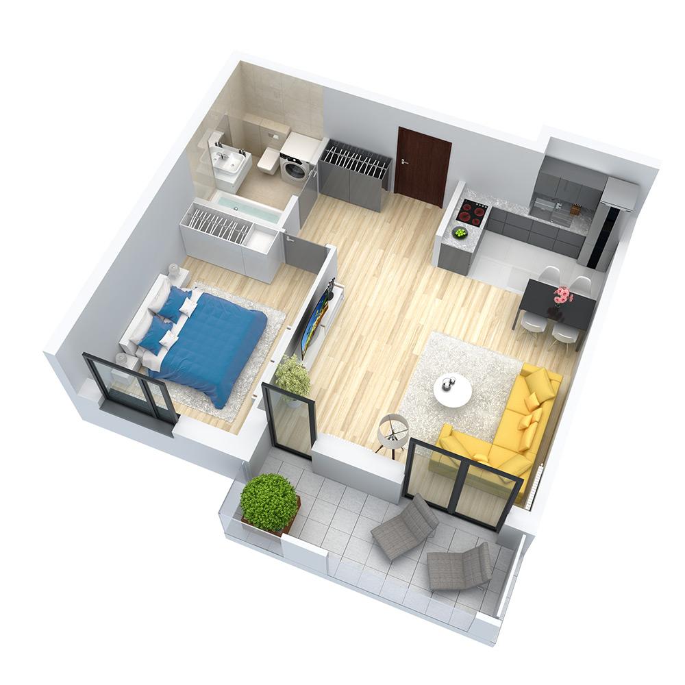 wizualizacja mieszkania numer 60