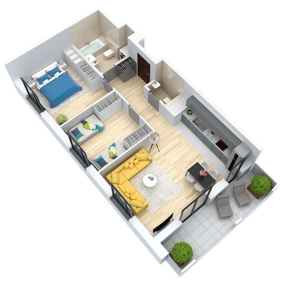 wizualizacja mieszkania numer 62