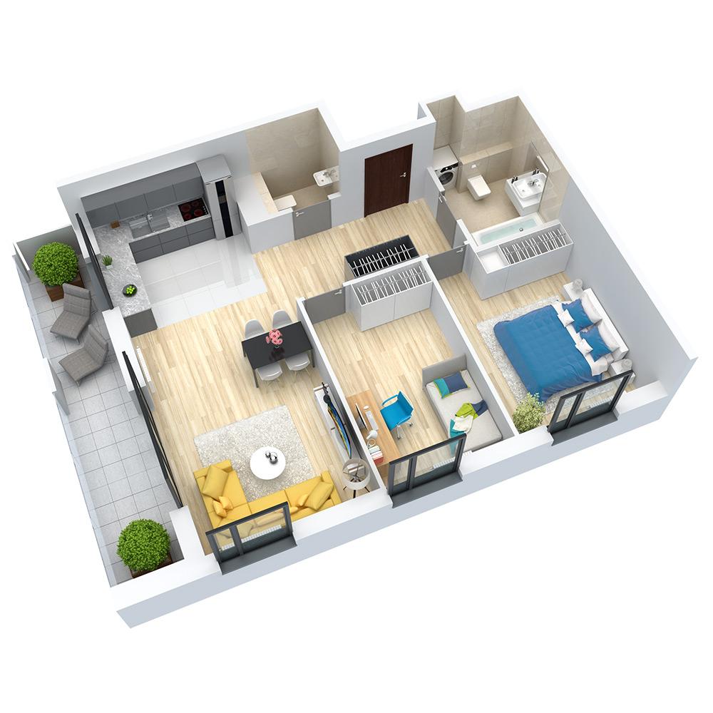 wizualizacja mieszkania numer 75