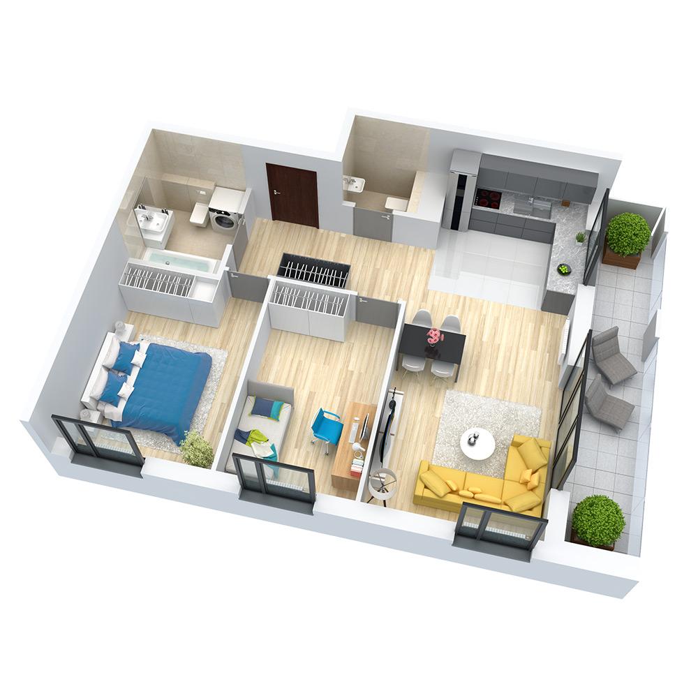 wizualizacja mieszkania numer 85