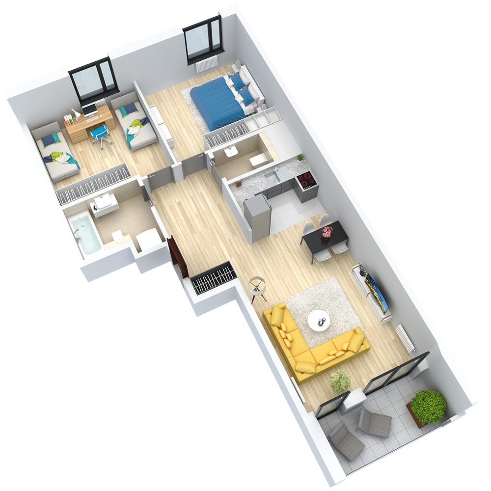 wizualizacja mieszkania numer 90