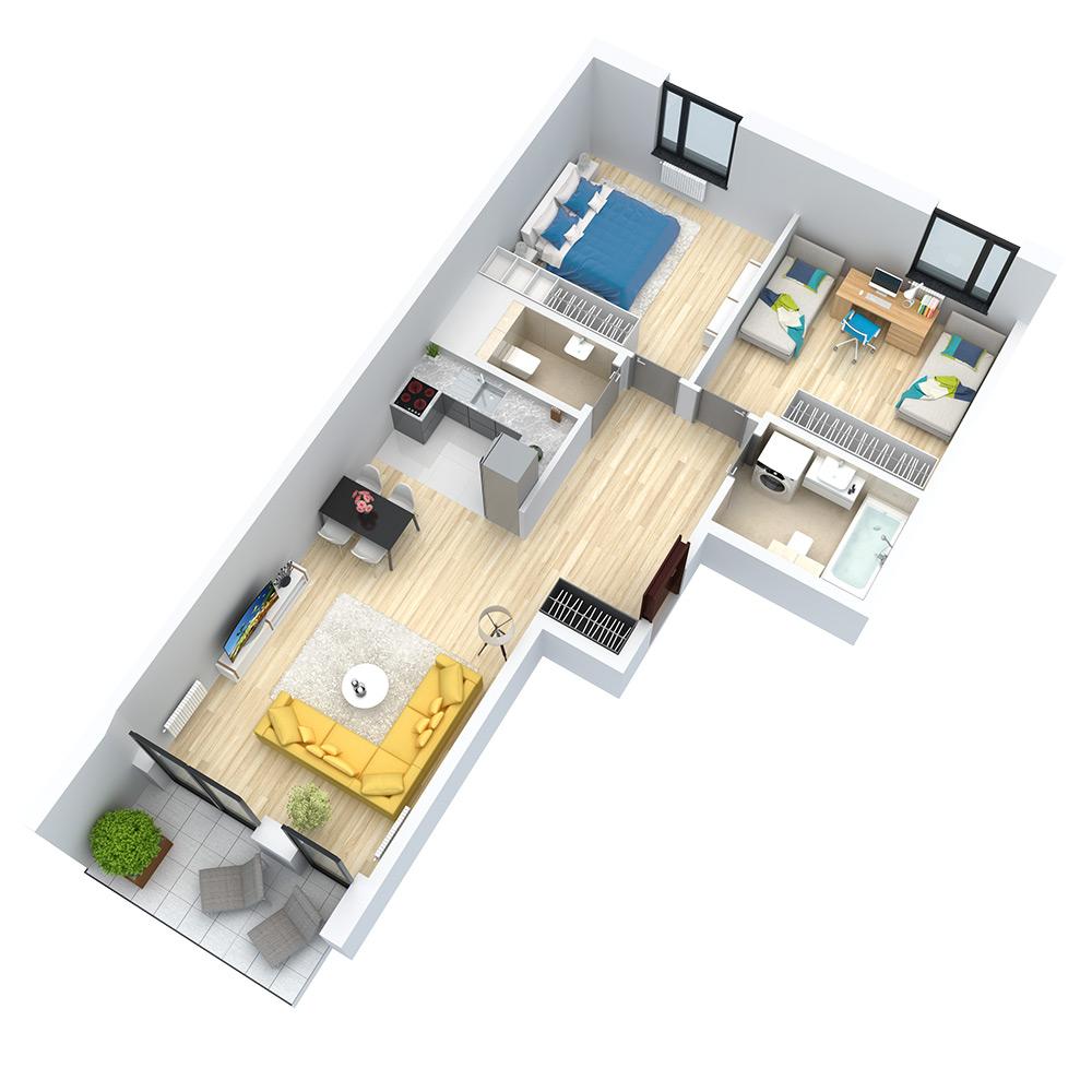 wizualizacja mieszkania numer 94