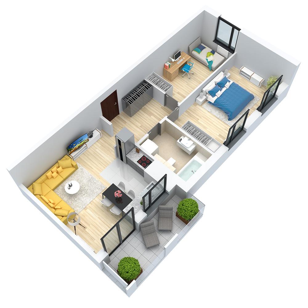 wizualizacja mieszkania numer 100