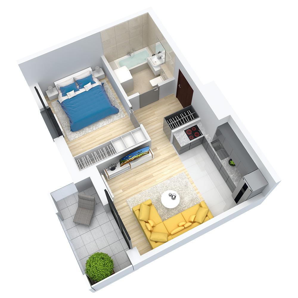 wizualizacja mieszkania numer 101
