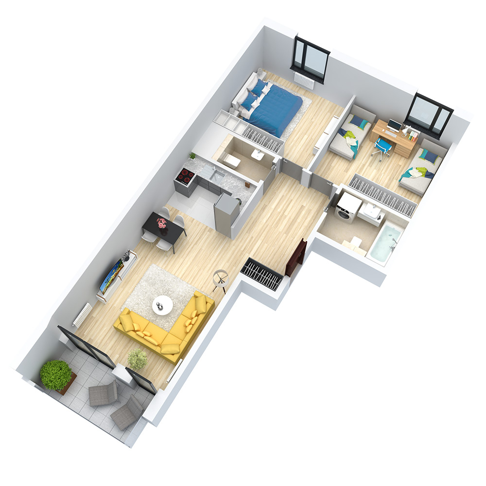 wizualizacja mieszkania numer 102