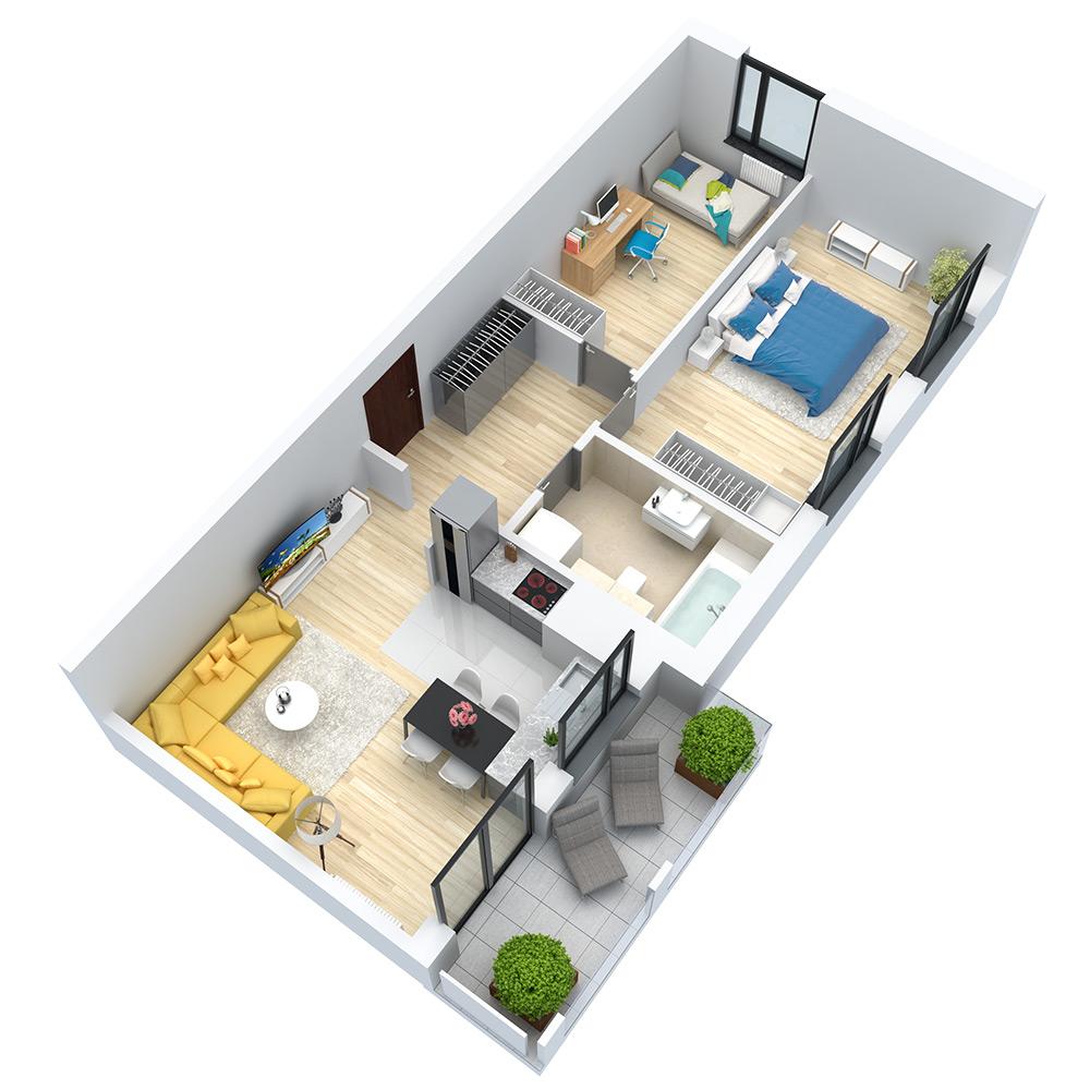 wizualizacja mieszkania numer 104