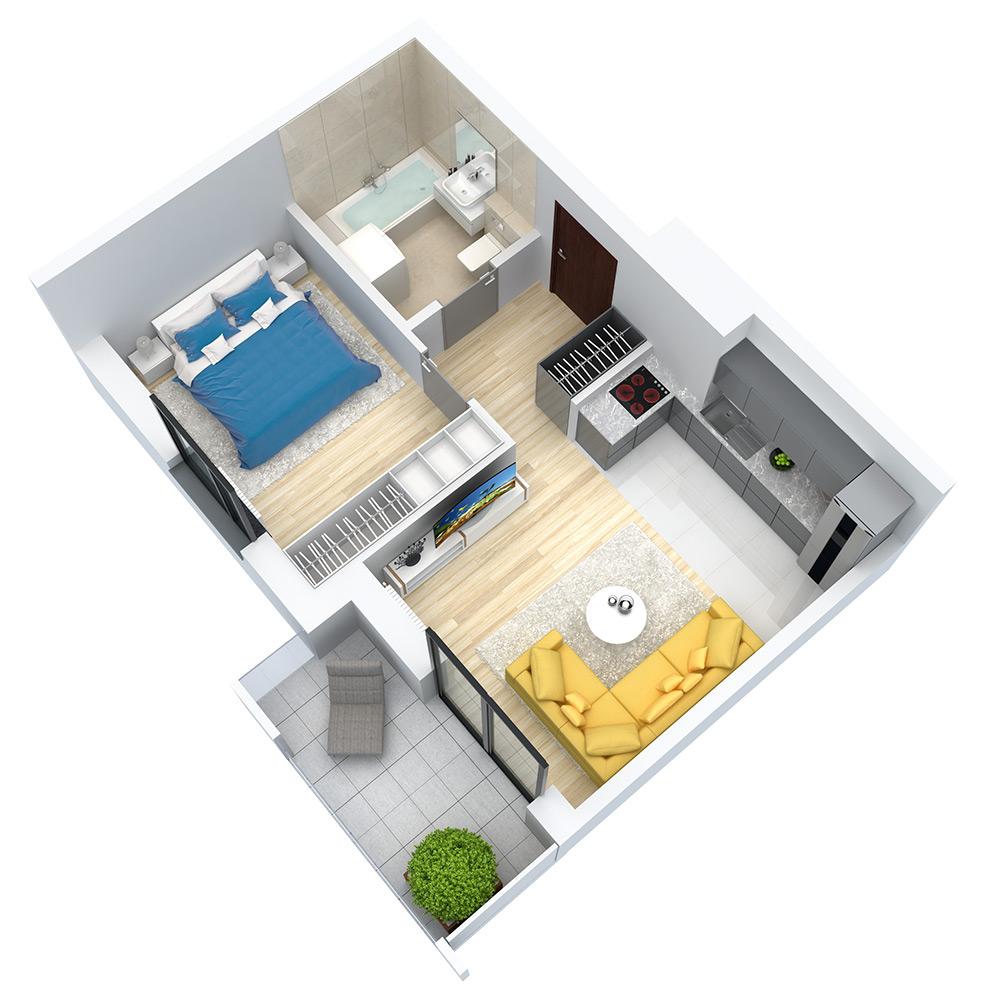 wizualizacja mieszkania numer 105