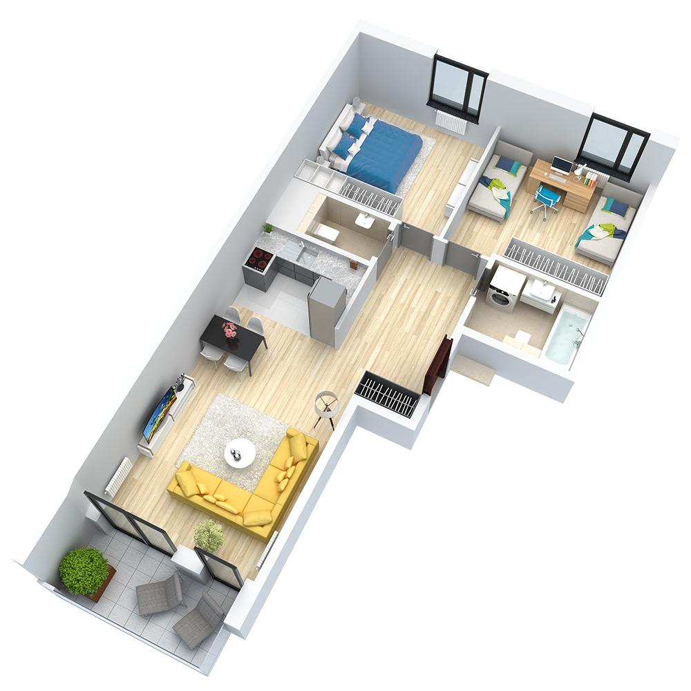 wizualizacja mieszkania numer 106