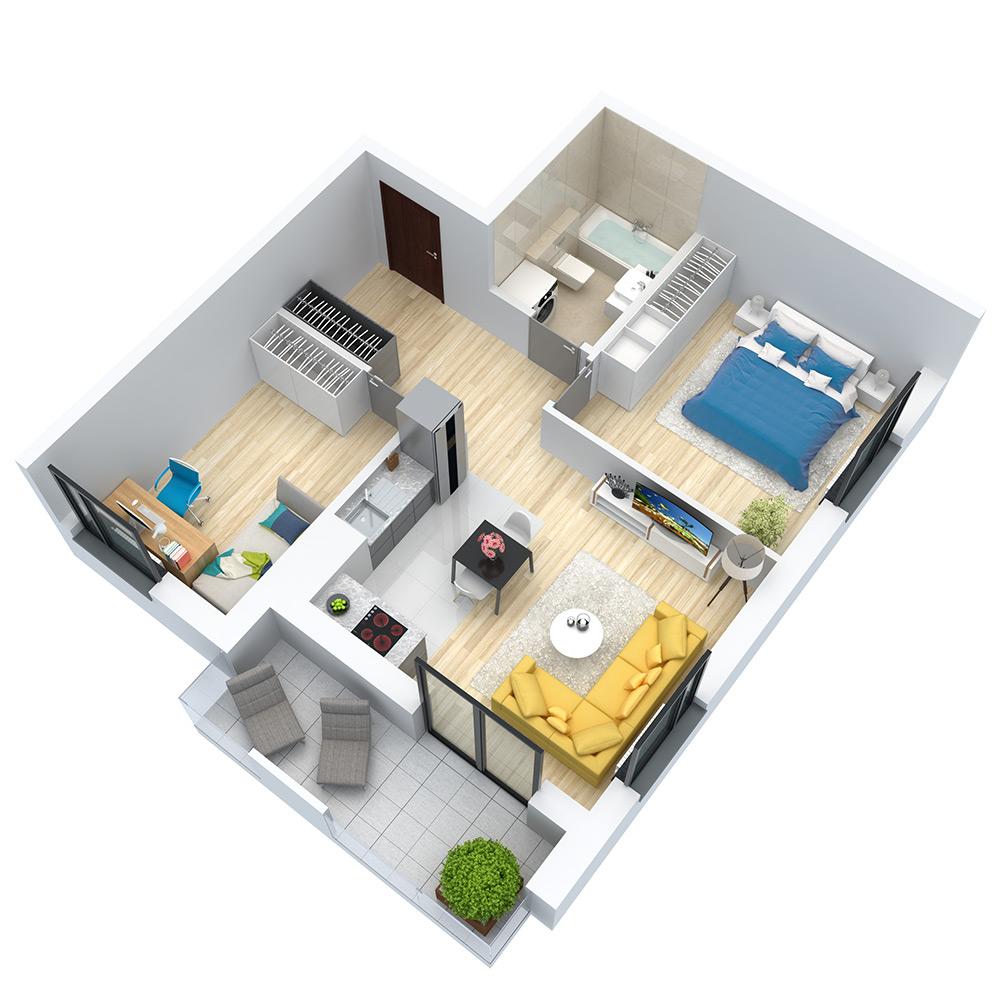 wizualizacja mieszkania numer 107