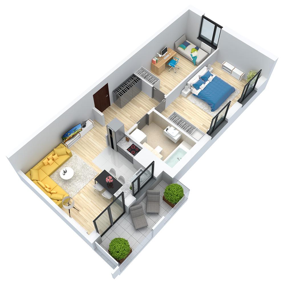 wizualizacja mieszkania numer 108