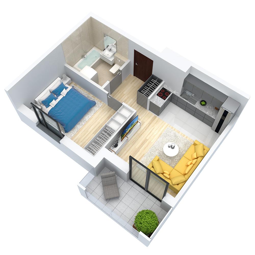 wizualizacja mieszkania numer 109