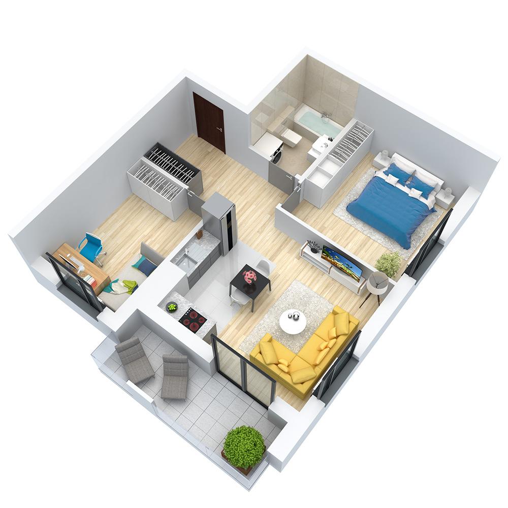 wizualizacja mieszkania numer 111