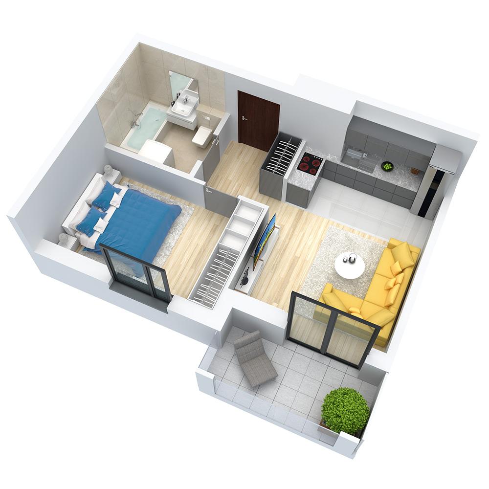 wizualizacja mieszkania numer 121