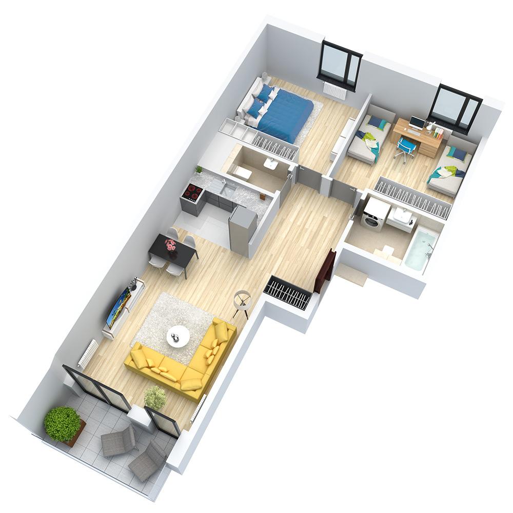 wizualizacja mieszkania numer 122