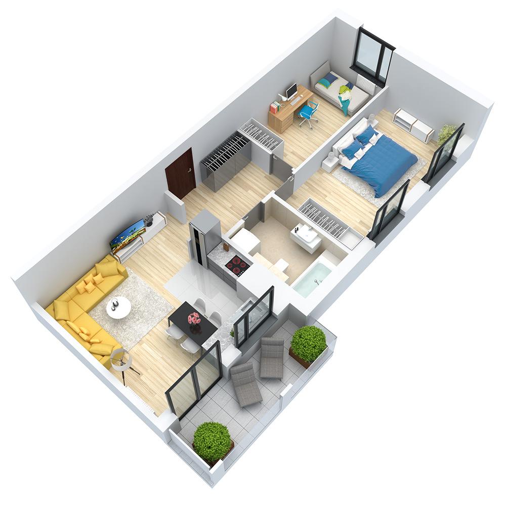 wizualizacja mieszkania numer 124