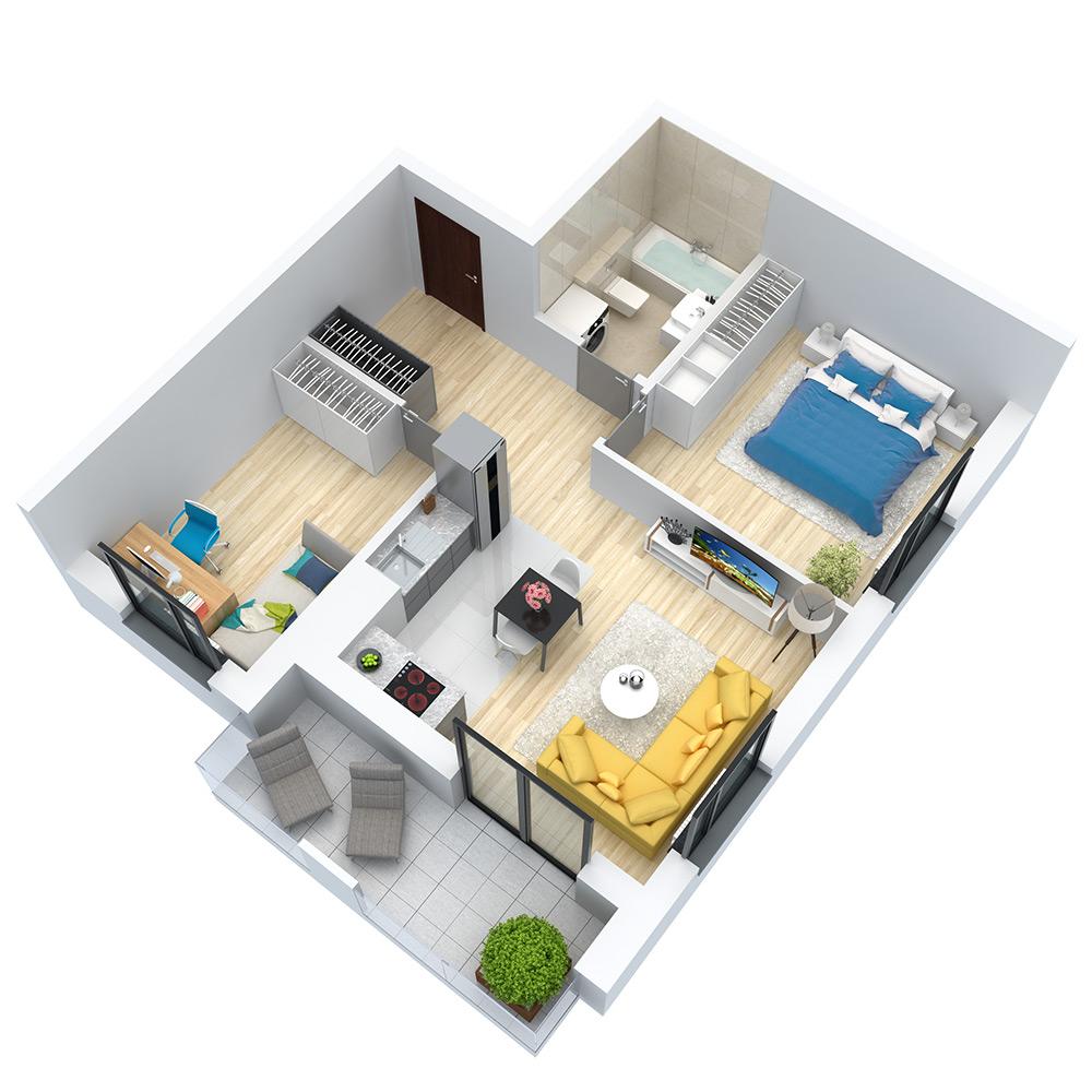 wizualizacja mieszkania numer 127