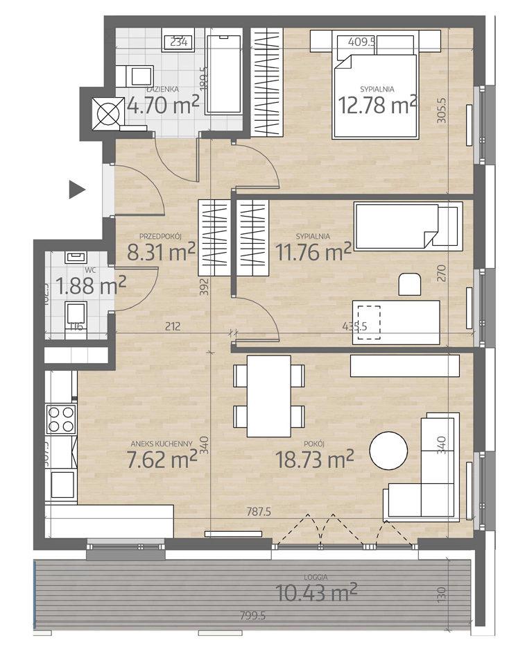 rzut mieszkania numer 3