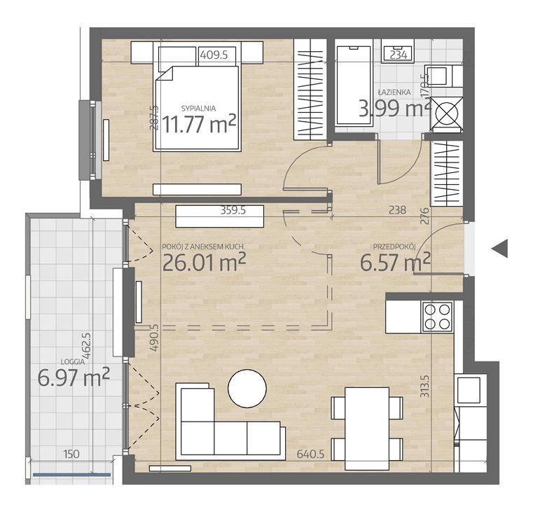 rzut mieszkania numer 6