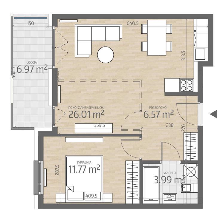 rzut mieszkania numer 7