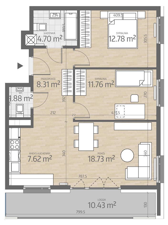 rzut mieszkania numer 12