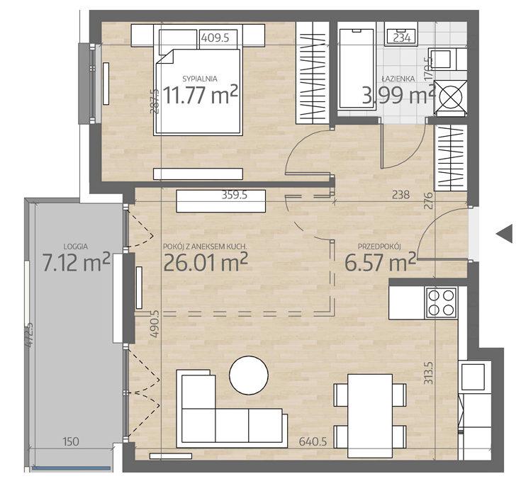 rzut mieszkania numer 15
