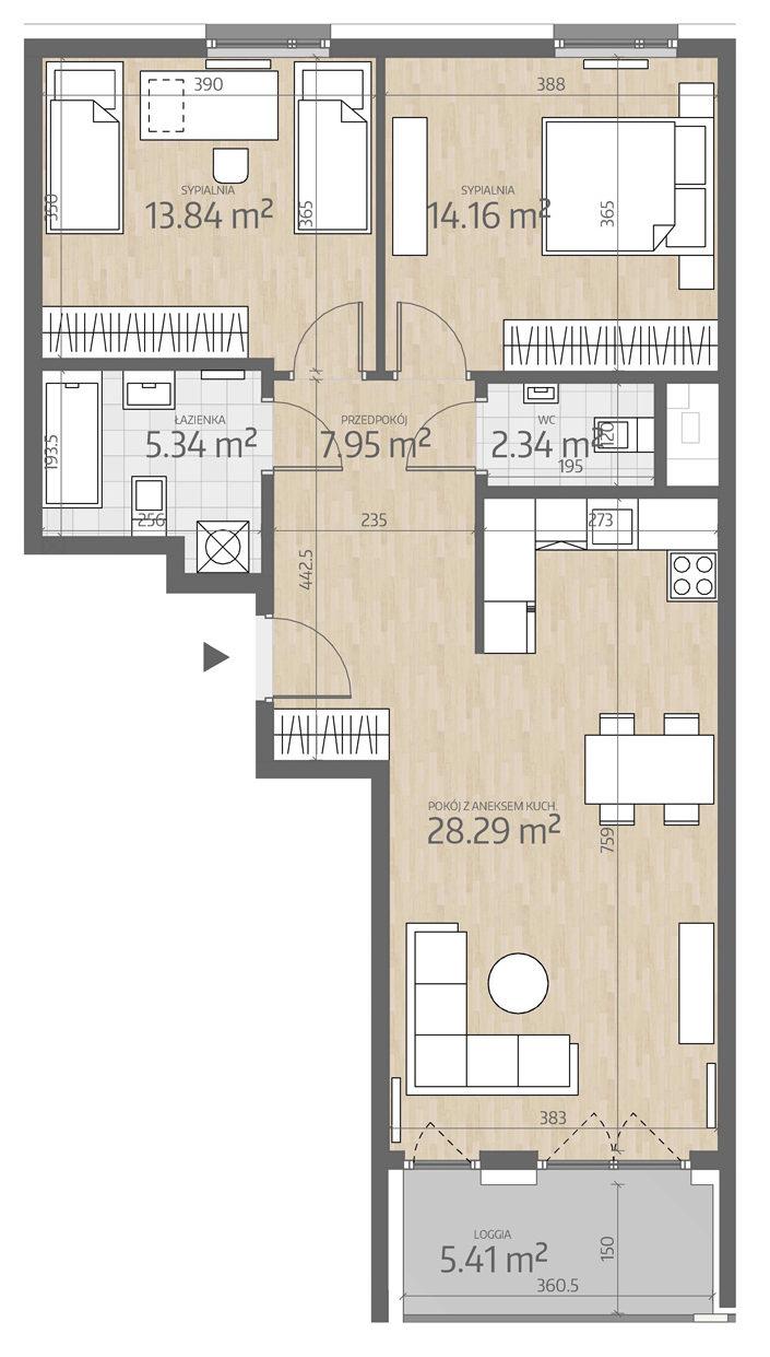 rzut mieszkania numer 18