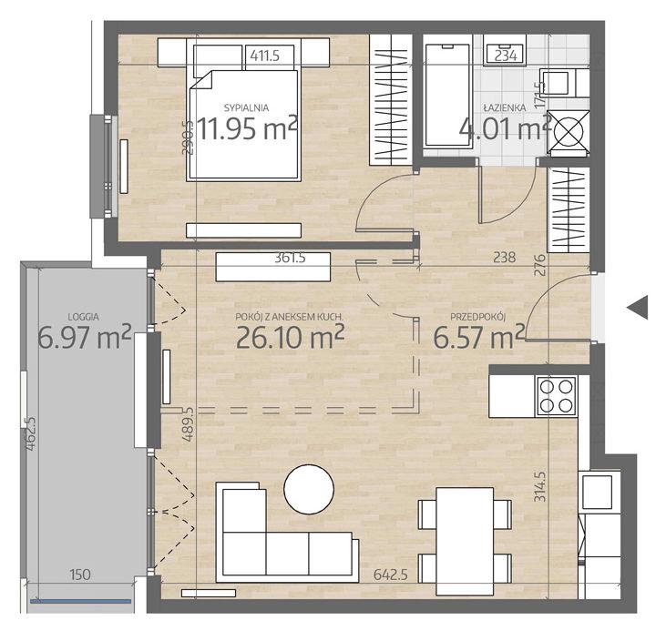 rzut mieszkania numer 24